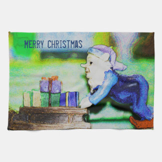 Busy Elf by Shirley Taylor Tea Towel