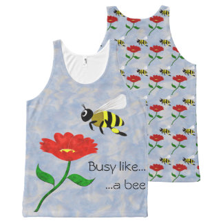 Busy Like a Bee All-Over Print Singlet