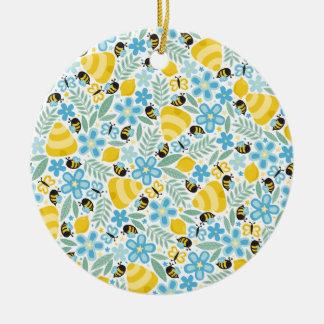Busy Little Honeybees Ceramic Ornament