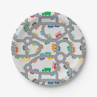Busy Roads Paper Plate
