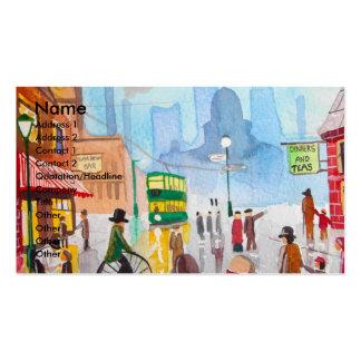 Busy street scene penny farthing tram Gordon Bruce Business Card Template