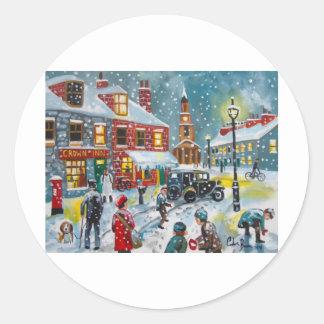 Busy street scene winter snow  Gordon Bruce art Round Sticker