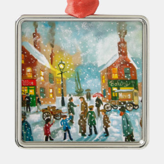 Busy village snow street scene Silver-Colored square decoration