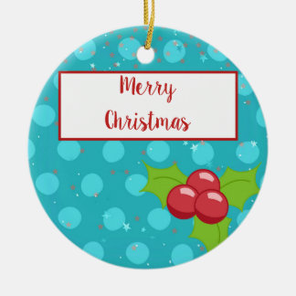 BusyBody Christmas Holiday with Holly Stars & Dots Ceramic Ornament