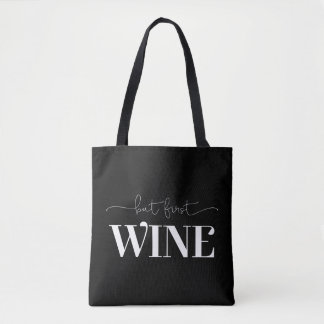 But First Wine White Custom Background Color Tote Bag
