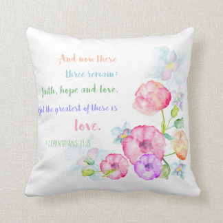 but the greatest of these is love christian bible cushion