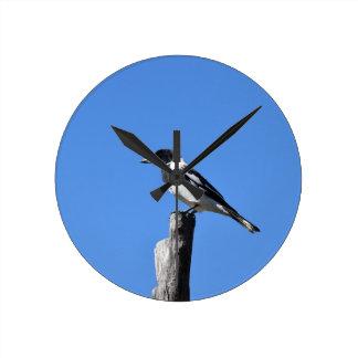 BUTCHER BIRD ON A POST IN RURAL AUSTRALIA WALL CLOCK