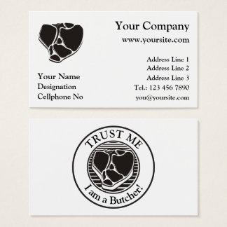 Butcher business cards on white background