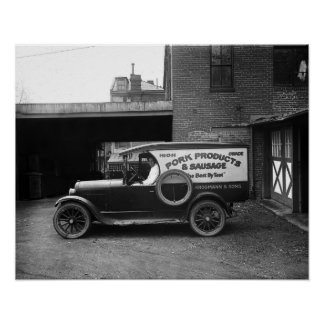 Butcher Delivery Truck, 1926. Vintage Photo Poster