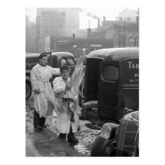 Butcher Shop Boys, 1938 Postcard