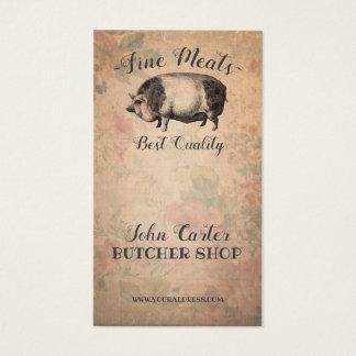 Butcher Shop Fine Meats Porky Pig Pink Card