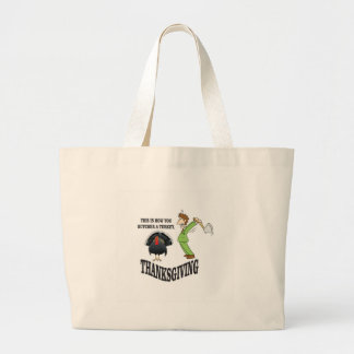 butcher turkey t-day large tote bag