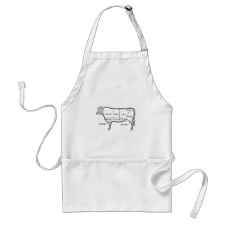 Butcher's Beef Cuts Diagram, cow, butcher, steak Standard Apron