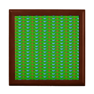 Buterflies on Green Large Square Gift Box