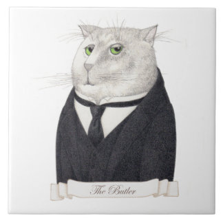 "Butler Cat Large (6"" x 6"") Ceramic Tile"