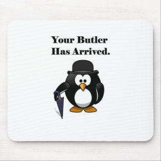 Butler Penguin Cute Cartoon with Umbrella Mouse Pad