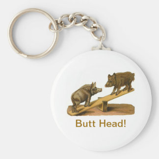 Butt Head Pigs Basic Round Button Key Ring