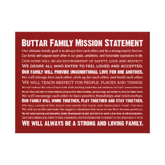 Buttar Family Mission Statement Canvas Print