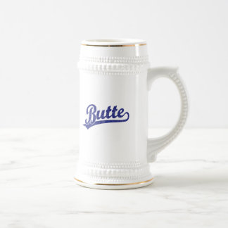 Butte script logo in blue mugs