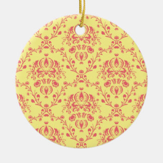 Butter and Cranberry Damask Ceramic Ornament