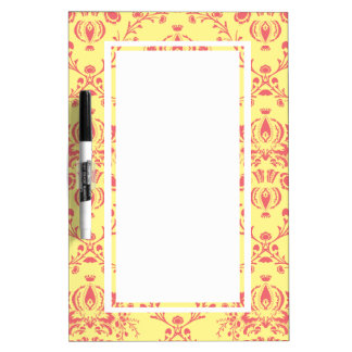 Butter and Cranberry Damask Dry-Erase Whiteboard
