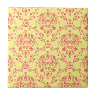 Butter and Cranberry Damask Tile