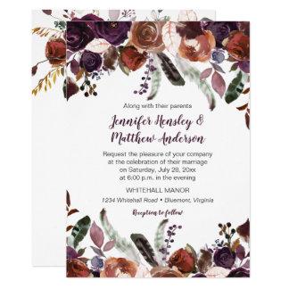 Butter Rum Eggplant Purple Roses Boho Wedding Card