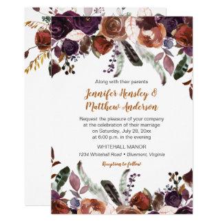 Butter Rum Rust Dark Purple Roses Boho Wedding Card