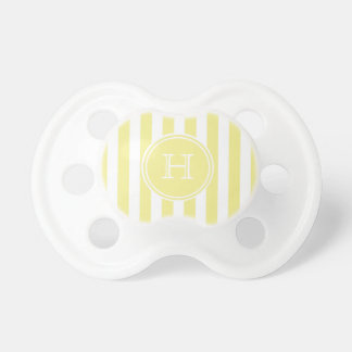 Butter Yellow and White Stripe Monogram Pacifiers