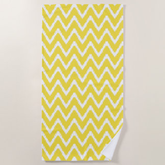 Butter Yellow Southern Cottage Chevrons Beach Towel