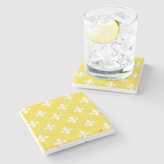 Butter Yellow Southern Cottage Fleur de Lys Stone Coaster