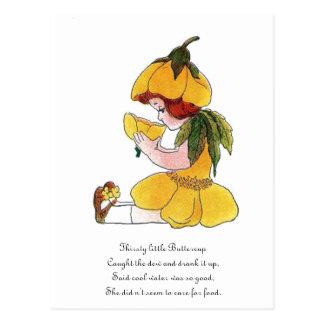 Buttercup Flower Child Funny Cute Little Girl Postcard