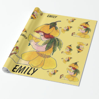 Buttercup Flower Child Funny Cute Little Girl Wrapping Paper
