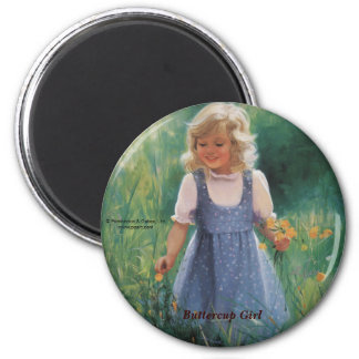 Buttercup Girl 6 Cm Round Magnet