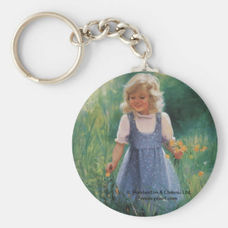 Buttercup Girl Basic Round Button Key Ring