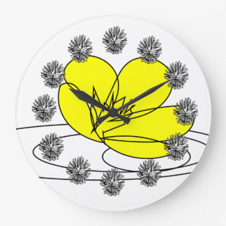 Buttercup Rain Sketch from our Garden Large Clock