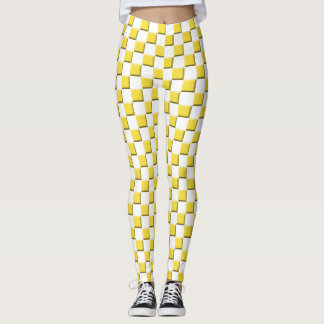 Buttercup Yellow Beveled Illusion Checkered Leggings