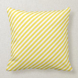 Buttercup Yellow Diagonal Stripe Cushion