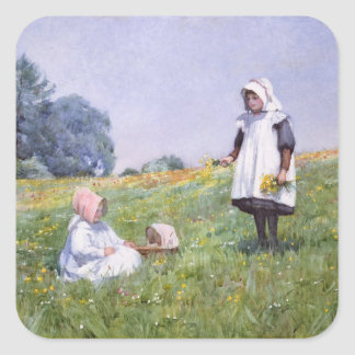 Buttercups and Daisies Square Sticker