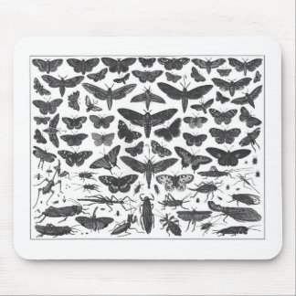 Butterfiles moths and insects B W pattern picture Mouse Mat