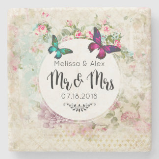 Butterflie on a Floral Vintage Collage Mr and Mrs Stone Coaster