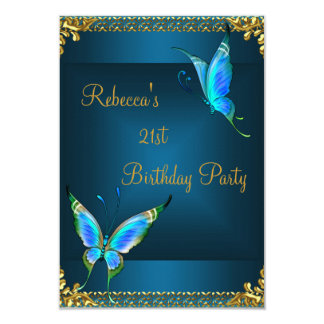 Butterflies 21st Birthday Party Blue Teal Card