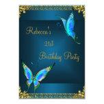 Butterflies 21st Birthday Party Blue Teal Custom Announcement