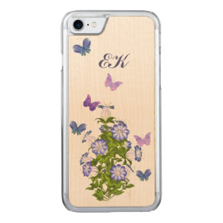 Butterflies and Bell Flowers, Monogram Carved iPhone 8/7 Case