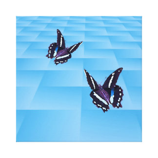 Butterflies and blue grid canvas prints