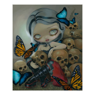 Butterflies and Bones ART PRINT big eye lowbrow