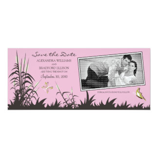 Butterflies and Cattails Save the Date (baby pink) 4x9.25 Paper Invitation Card
