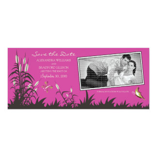 Butterflies and Cattails Save the Date (hot pink) 4x9.25 Paper Invitation Card