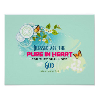 Butterflies and Flower Blossom Beatitude Quote Poster