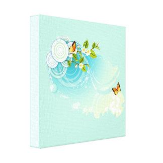 Butterflies and Flower Blossoms Canvas Print